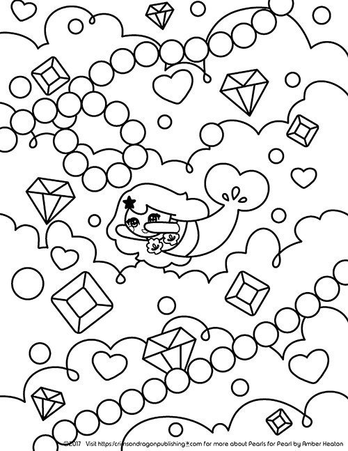 Pearl Swimming in Jewels_Coloring Page