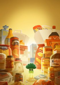 "Illustration from ""Adopt a Broccoli"" project by Maïlys Pitcher. A broccoli is standing among various foods, snacks and drinks that you would find in many pantries."
