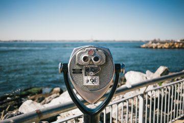Binoculars looking at the ocean.