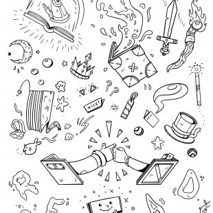 Coloring Page of Doodles by Logan Matthews for Book Week 2020.