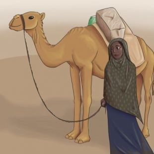 A young Ethiopian girl with her Camel in the desert.