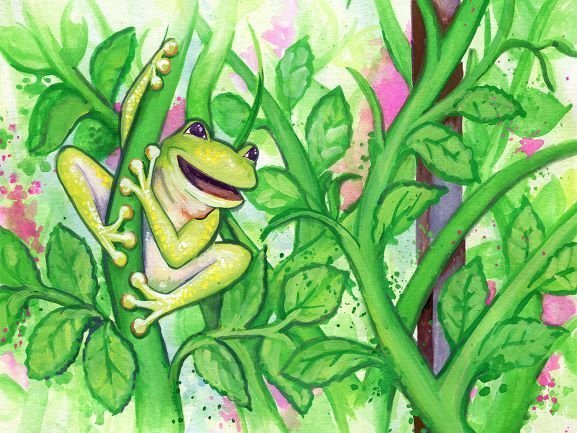 A cartoon frog climbing up a rose vine.
