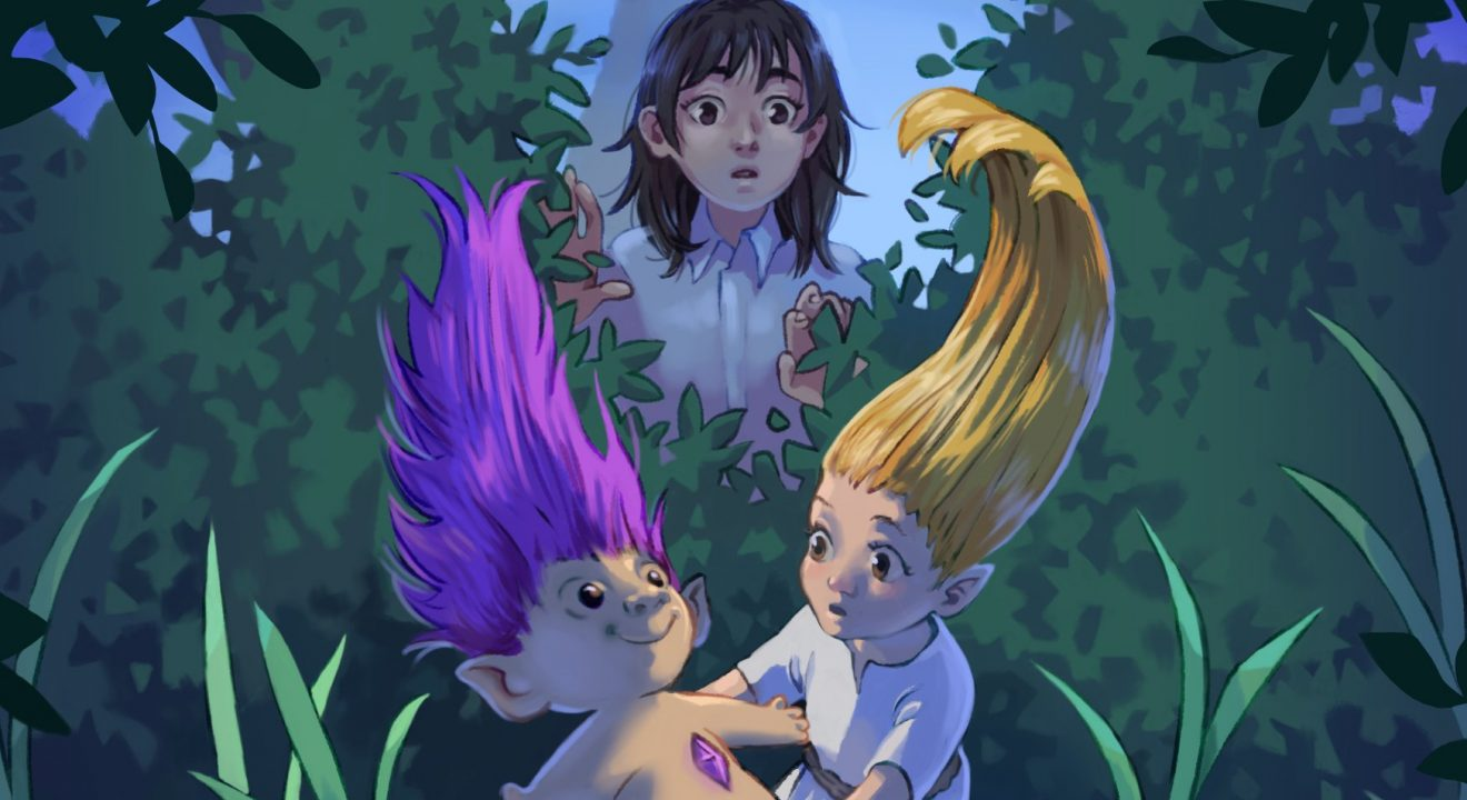 A young girl watches a girl troll pick up a troll doll.