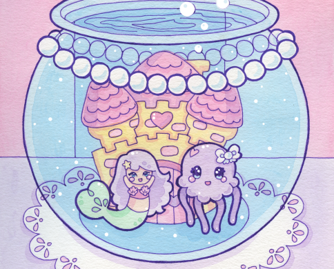 A small mermaid and her jellyfish friend waving from inside a fishbowl. There is a string of pearls draped around the top of the bowl.